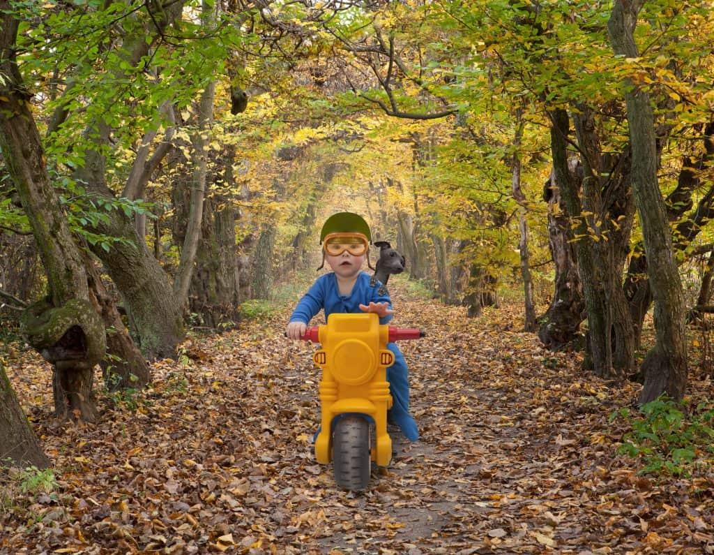 Menino com cachorro em moto infantil.